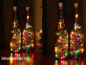 ریسه بطری شیشه ای که داخل آنرا بخوبی روشن میکند و زیباست