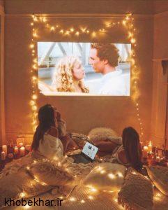 نورپردازی اتاق خواب با ریسه کریسمسی