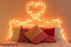 ایجاد طرح قلب روی دیوار با ریسه نوری