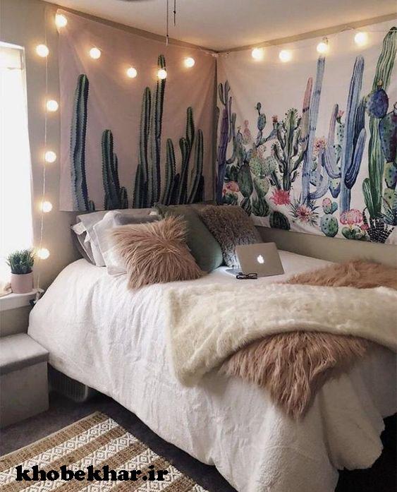 تخت اتاق خواب با تزئینات نوری
