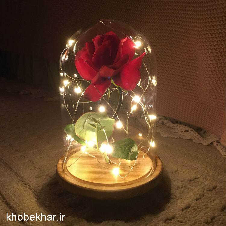 هدیه ولنتاین گل رز و ریسه و شیشه